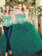 Most Popular Beading and Ruffles Vestidos de Quinceanera Green Lace Up Sleeveless Floor Length