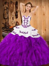 Smart Eggplant Purple Ball Gowns Strapless Sleeveless Satin and Organza Floor Length Lace Up Embroidery and Ruffles Sweet 16 Dress
