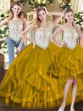 Sumptuous Sleeveless Zipper Floor Length Beading and Ruffles Sweet 16 Dress