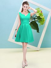 Charming Mini Length Turquoise Damas Dress Asymmetric Sleeveless Zipper