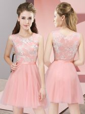 Free and Easy Baby Pink Dama Dress for Quinceanera Prom and Party and Wedding Party with Lace Scoop Sleeveless Side Zipper