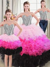 Floor Length Three Pieces Sleeveless Multi-color Sweet 16 Quinceanera Dress Lace Up