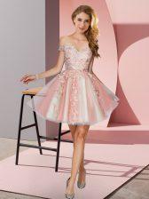 Shining A-line Quinceanera Dama Dress Peach Off The Shoulder Tulle Sleeveless Mini Length Zipper