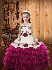 Graceful Fuchsia Sleeveless Floor Length Embroidery and Ruffled Layers Lace Up Pageant Dress Toddler