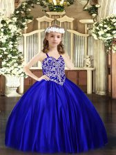 Stunning Straps Sleeveless Lace Up Winning Pageant Gowns Royal Blue Satin