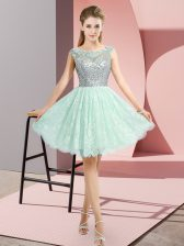 Scoop Cap Sleeves Lace Beading Backless
