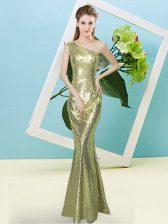 Luxury One Shoulder Sleeveless Zipper Homecoming Dress Yellow Green Sequined