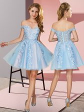 Latest Mini Length Light Blue Vestidos de Damas Off The Shoulder Sleeveless Zipper