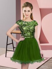 Mini Length Zipper Dama Dress Olive Green for Prom and Party and Wedding Party with Sequins
