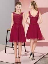 Fantastic Chiffon Scoop Sleeveless Zipper Appliques Quinceanera Court of Honor Dress in Wine Red