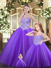 Delicate Purple Sweetheart Lace Up Beading 15 Quinceanera Dress Sleeveless