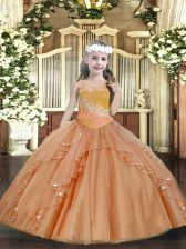 Admirable Rust Red Sleeveless Tulle Lace Up Glitz Pageant Dress for Party and Sweet 16 and Quinceanera and Wedding Party
