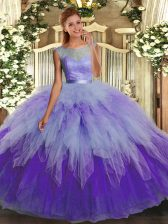 Multi-color Ball Gowns Scoop Sleeveless Organza Floor Length Backless Lace and Ruffles Quinceanera Dresses