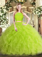 Exceptional Yellow Green Zipper Scoop Ruffles Quinceanera Gown Tulle Sleeveless