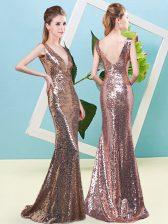 Gold Sleeveless Floor Length Sequins Zipper