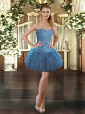 Beautiful Blue Organza Lace Up Sleeveless Mini Length Beading and Ruffles