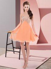 Beading Orange Red Lace Up Sleeveless Mini Length