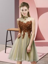 Lovely Knee Length Empire Sleeveless Gold Court Dresses for Sweet 16 Lace Up