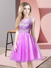 Knee Length Lilac Prom Gown Tulle Sleeveless Beading