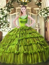 Dynamic Sleeveless Floor Length Beading and Ruffled Layers Side Zipper Quince Ball Gowns with Olive Green