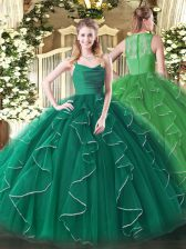 Designer Dark Green Organza Zipper Quinceanera Gown Sleeveless Floor Length Ruffles