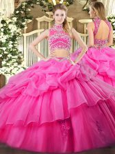 Adorable Hot Pink Backless High-neck Beading and Ruffles and Pick Ups 15 Quinceanera Dress Tulle Sleeveless