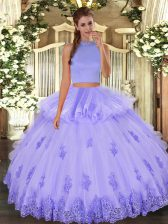 Fashionable Floor Length Lavender 15th Birthday Dress Tulle Sleeveless Beading and Appliques and Ruffles