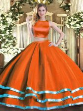 Best Selling Rust Red High-neck Criss Cross Ruching Ball Gown Prom Dress Sleeveless