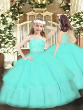 Stylish Apple Green Ball Gowns Organza Straps Sleeveless Beading and Lace and Ruffled Layers Floor Length Zipper Kids Formal Wear