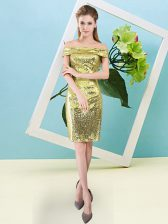 Mini Length Yellow Homecoming Dress Sequined Short Sleeves Sequins