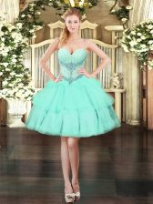 Best Selling Sweetheart Sleeveless Lace Up Homecoming Dress Apple Green Organza
