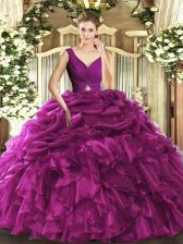 Beautiful Ball Gowns Ball Gown Prom Dress Fuchsia V-neck Organza Sleeveless Floor Length Backless