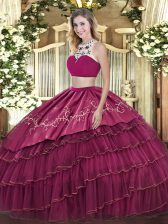Fuchsia High-neck Neckline Beading and Embroidery and Ruffled Layers Quinceanera Dresses Sleeveless Backless