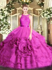 Designer Floor Length Fuchsia Sweet 16 Quinceanera Dress Fabric With Rolling Flowers Sleeveless Lace