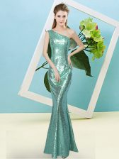 Apple Green Sequined Zipper Prom Dresses Sleeveless Floor Length Sequins