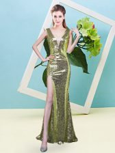 Clearance Yellow Green Evening Dress Prom and Party with Sequins V-neck Sleeveless Zipper