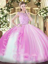 Flirting Lilac Zipper Vestidos de Quinceanera Beading and Ruffles Sleeveless Floor Length