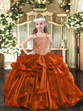 Stunning Sleeveless Lace Up Floor Length Beading and Embroidery and Ruffles Pageant Dress