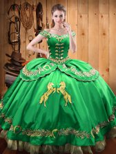 Exquisite Ball Gowns Vestidos de Quinceanera Green Off The Shoulder Satin and Organza Sleeveless Floor Length Lace Up