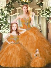 Custom Made Rust Red Quince Ball Gowns Military Ball and Sweet 16 and Quinceanera with Beading and Ruffles Sweetheart Sleeveless Lace Up
