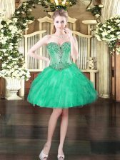 Delicate Beading and Ruffles Prom Party Dress Turquoise Lace Up Sleeveless Mini Length