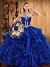 Amazing Organza Sleeveless Floor Length 15th Birthday Dress and Embroidery and Ruffles
