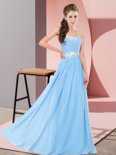 Sleeveless Floor Length Appliques Lace Up Homecoming Dress with Aqua Blue