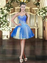 Baby Blue Tulle Lace Up Prom Dress Sleeveless Mini Length Beading