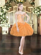 Fashion Mini Length Orange Red Prom Gown Tulle Sleeveless Beading and Ruffles