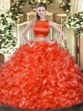 High-neck Sleeveless Tulle Ball Gown Prom Dress Ruffles Criss Cross