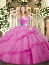 Wonderful Floor Length Zipper Sweet 16 Quinceanera Dress Lilac for Military Ball and Sweet 16 and Quinceanera with Ruffled Layers