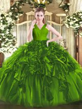 Enchanting Olive Green Sleeveless Organza Zipper 15th Birthday Dress for Military Ball and Sweet 16 and Quinceanera