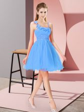 Beading and Hand Made Flower Homecoming Dress Baby Blue Zipper Sleeveless Mini Length