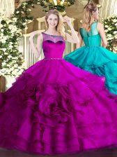 Fuchsia Sleeveless Floor Length Beading and Ruffled Layers Zipper Sweet 16 Dress
